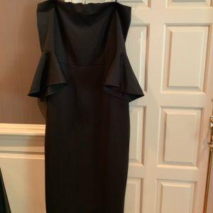 Plus size black off the shoulder bell sleeve dress